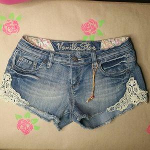 Vanilla Star Denim Jean Shorts Lace Details  9